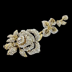 CRYSTAL BRIDAL HAIRDRESS BROOCH - GOLD