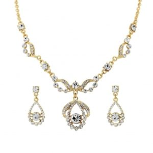CRYSTAL BRIDAL NECKLACE SET - GOLD (NK195)