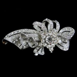 CRYSTAL SPARKLE BOW BROOCH - CLEAR (BROOCH106)