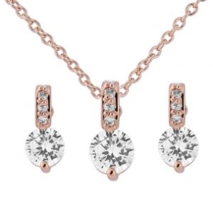 CUBIC ZIRCONIA COLLECTION - CLASSIC CRYSTAL NECKLACE SET - ROSE GOLD CZNK18