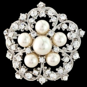 EXQUISITE CRYSTAL PEARL BROOCH - IVORY (S-BROOCH 1)
