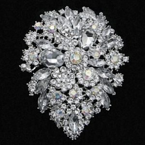 FLAMBOYANT CRYSTAL BRIDAL BROOCH - CLEAR (BROOCH 34)
