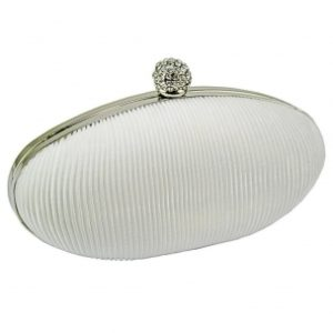 LILLIAN SATIN CLUTCH BAG - IVORY