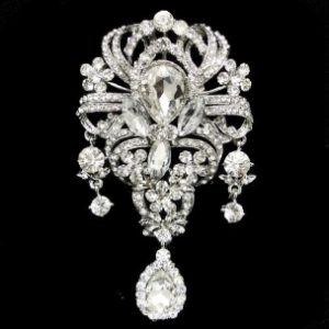 LUXURIOUS BRIDAL BROOCH - CLEAR (BROOCH 84)