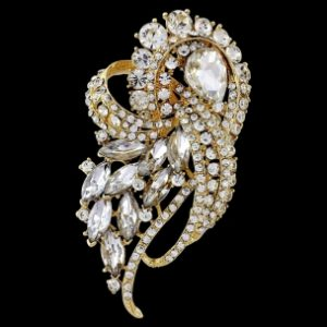 PRECIOUS CRYSTAL BRIDAL BROOCH - GOLD (BROOCH 31)