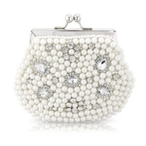 VINTAGE CHIC PEARL CLUTCH - WHITE